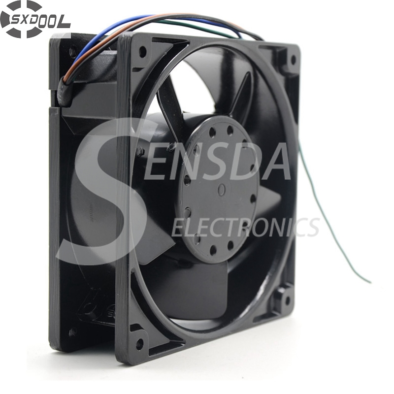 SXDOOL 4E-DVB 12038 12cm 120mm 115/230V AC 77.5/89CFM  industrial cooling fan high temperature resistant delta afb1212hhe 12038 12cm 120 120 38mm 4 line pwm intelligent temperature control 12v 0 7a