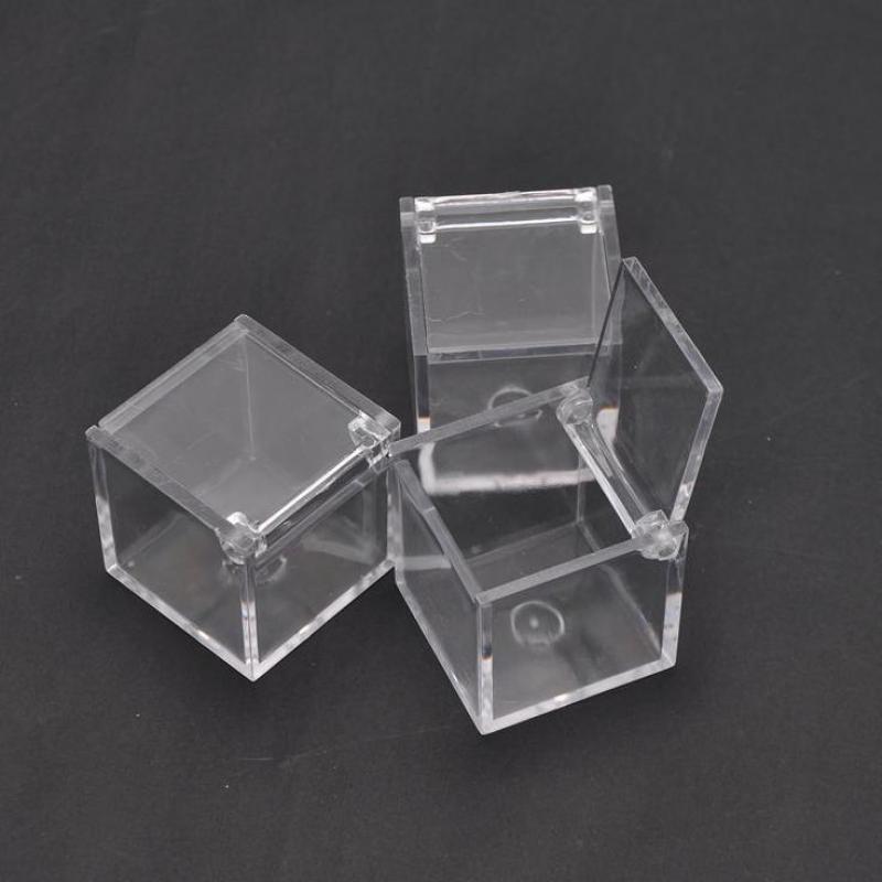 Poroka Priljubljenost Ps Okoljska Flip Prozorne plastične kvadratne škatle škatle škatle bonboni 2 velikosti za U Pick