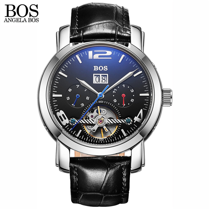 ANGELA BOS Fashion Casual Automatic font b Watches b font Men Military Mechanical Leather Wristwatches Clock