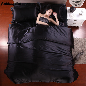 Home Textile Pure Black Silk Bedding Set Soft Silky Bed Cover Bedclothes Duvet Cover Bed Sheet Pillowcase Twin Queen King Size black satin bed sheets