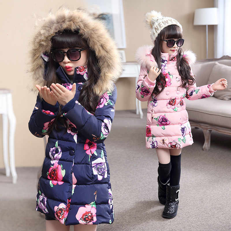 Winter Thicken Warm Kids Coat Children Outerwear Cotton Filler Heavyweight Girls Jackets Outfits For 4-12 Years Old
