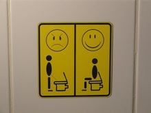 "Double Layer Happy And Angry Faces With Plate WC ""Sitting peeing"" Toilet Sticker Decal Latrine Door Adhesive Murals Decor S-79"