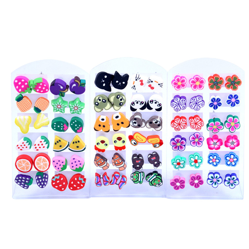 12Pairs/set Fimo Polymer Clay Fruits Stud Earrings Mixed Styles For Baby Girl