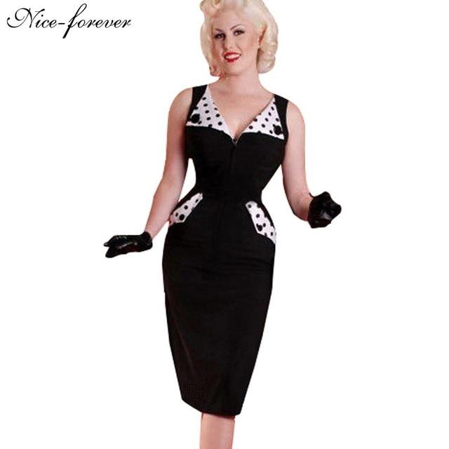 Nice-siempre elegante casual dress rockabilly polka dot vendimia de las mujeres de moda de verano botón recorta bodycon lápiz slim dress 657