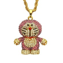 YD&YDBZ New Pink Doraemon Long Necklaces For Women Pendant Necklace Punk Rave Birthday Gift Girl Jewelry Choker Rhinestone Bling