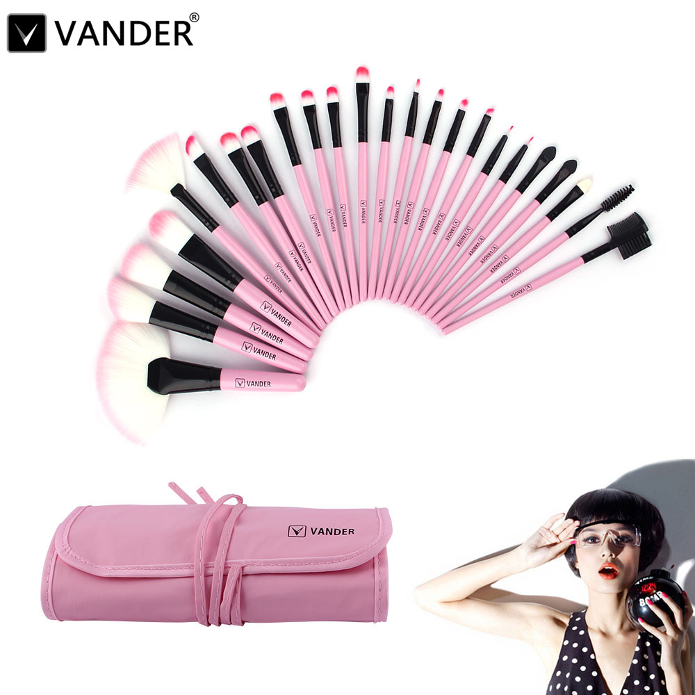 Professional 24Pcs Pink Cosmetic Makeup Brushes Set Foundation Eye Shadow Eyeliner Cream Powder Brush Kits + Pouch Bag Case high grade professional makeup brush bb cream concealer foundation powder eye shadow brushes soft cosmetic brushes kits