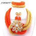 2017 New Orange African Beads Wedding jewelry Necklace women Nigerian african beads jewelry set earrings  Free Shipping L1035