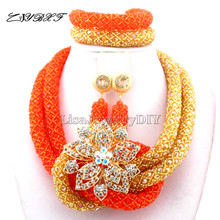 2019 New Orange African Beads Jewelry set dubai Women choker Necklace net indian Nigerian Wedding bridal jewelry set L1035