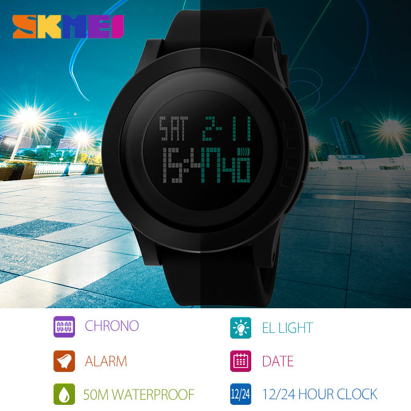 SKMEI Large Dial Elektroniska Män Sport Watch LED Digital Armbandsur - Herrklockor - Foto 6