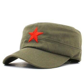 Men Women Military HatFashion Summer Autumn Brand  Classic Vintage Star Adjustable Adult Flat Top Cap AD106 - discount item  15% OFF Hats & Caps