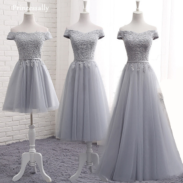 927f68ac49c59 Grey Bridesmaid Dress Floor Length A line Sexy Boat Neck Appliques Cap  Sleeved Long Prom Party Gowns Custom Robe De Mariee 2017