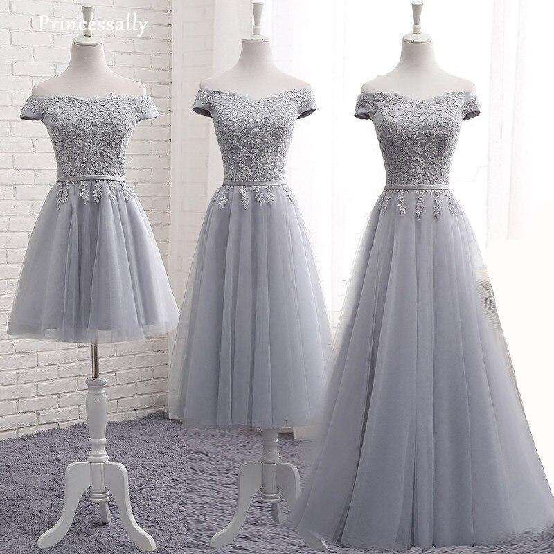 Gris Demoiselle D'honneur Robe Étage Longueur UNE ligne Sexy Bateau Cou Appliques Cap Manches Longues Prom Party Robes Custom Robe De mariée 2017