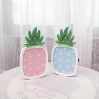 Creative Pineapple Wooden Miniatures Figurine Craft Ornaments Home Office LED Night Light 3D Lamp Marquee Letter
