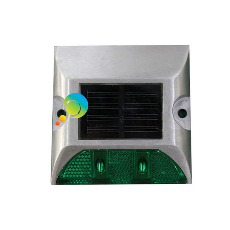 New Arrival Aluminum With 3M Reflector LED Green Color One Side Solar Powered Road Studs