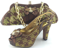 Fast Shipping High Heel Shoes Perfect Matching With Handbag Gold New Italian Lady Shoes And Bag