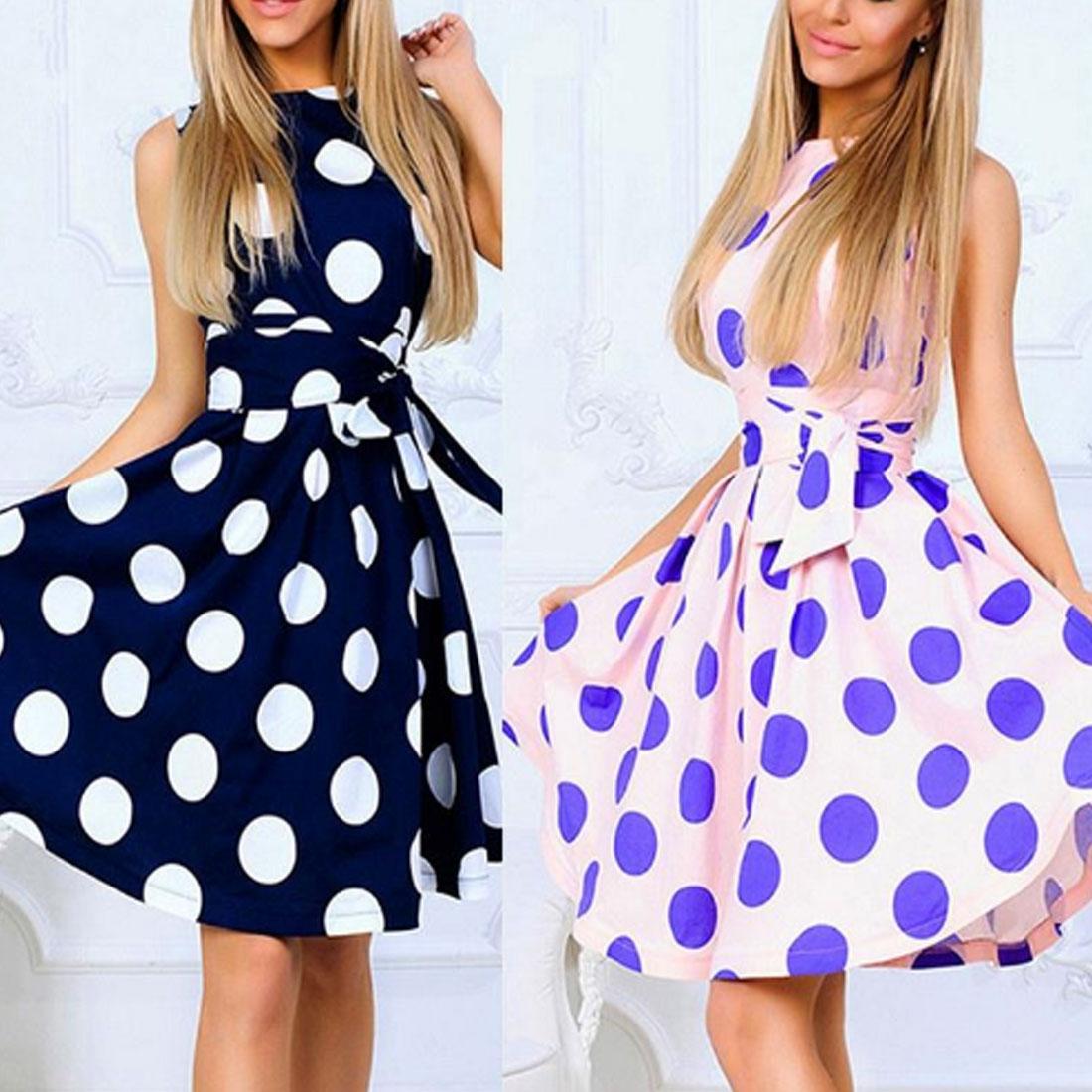 Polka Dot Dress Elegant Sweet Female Sleeveless O Neck Print Party Dresses Summer Casual A Line Dress Plus Size swing dress in Dresses from Women 39 s Clothing