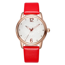 SKONE Марка Розового Золота Женщины Одеваются Часы Красный Натуральная Кожа Повелительница Кварцевые Наручные Часы Алмазов Часы Reloj Mujer