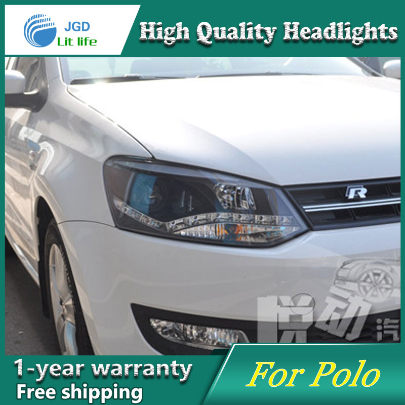 high quality Car styling case for VW Polo 2011-2013 Headlights LED Headlight DRL Lens Double Beam HID Xenon Car Accessories hireno headlamp for 2013 2015 nissan tiida headlight assembly led drl angel lens double beam hid xenon 2pcs