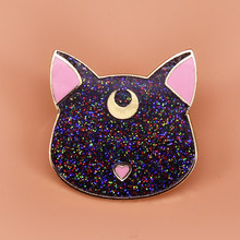 Black cat Luna brooch cute glitter pins magical celestial badge Sailor Moon inspired anime pins Artemis jewelry gift women acces(China)