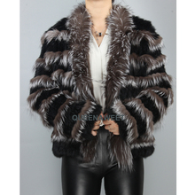 Real Fur Coat Knit Rabbit Fur With Natural Silver Fox Fur Co