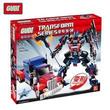 GUDI 377 pcs Transformer Série Optimus Prime Transformation Robot De Voiture Gros Camion Blocs de Construction Modèle Jouet Compatible Avec Legoe