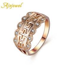 Ajojewel New Designer CZ Diamond 18K Rose Gold Rings For Women Anillos