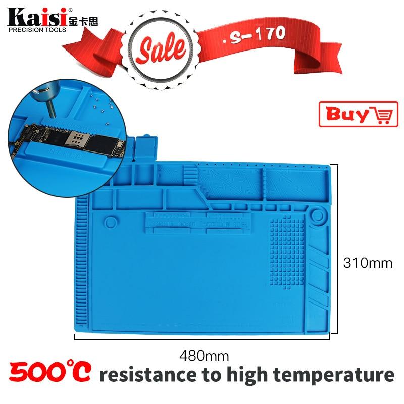 S-170 48x31cm Heat Insulation Silicone Pad Electrical BGA Soldering Repair Station Maintenance Platform with Screw Location Mat