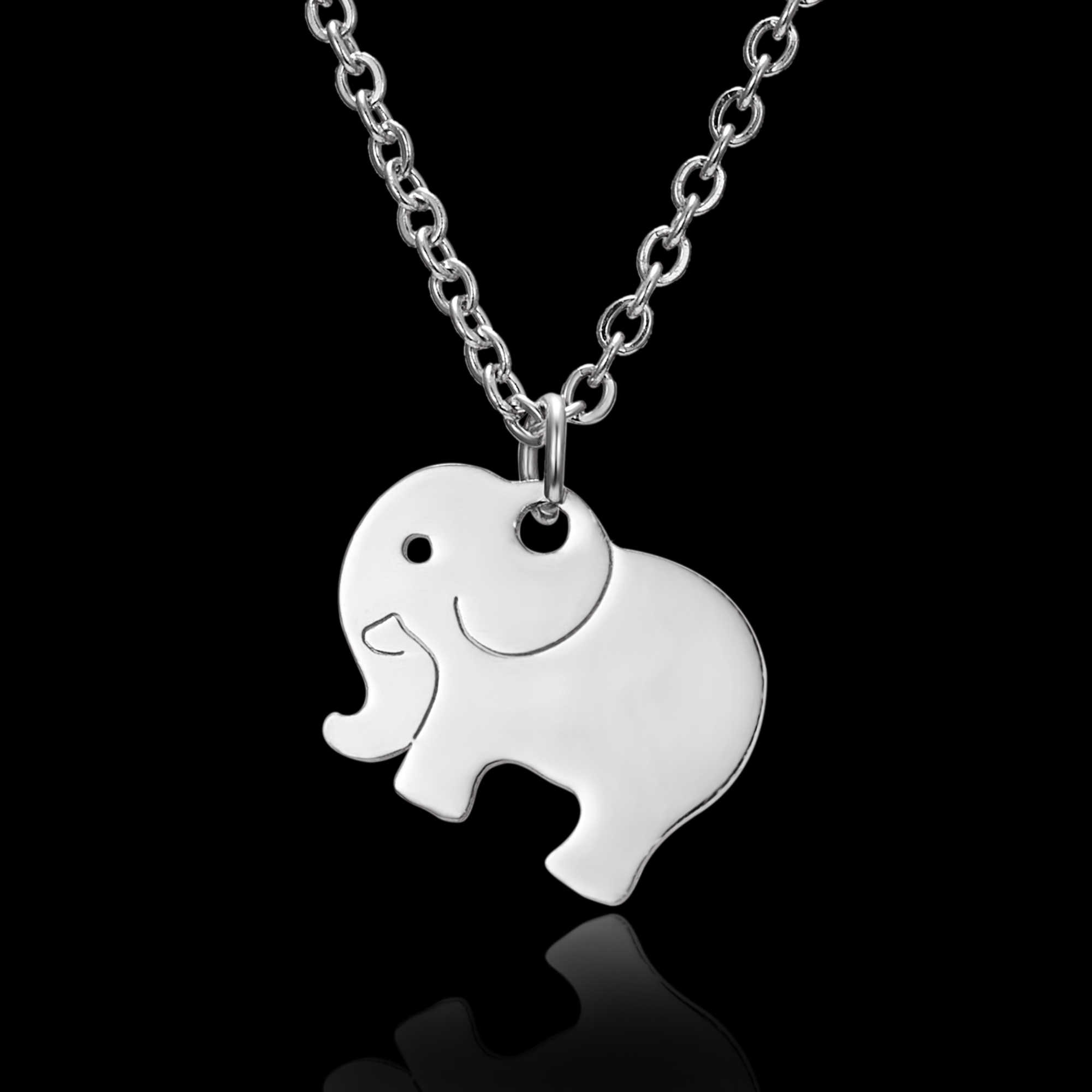 Rinhoo 1PC New Fashion Silver Stainless Steel Cute Elephant Pendant Link Chain Necklace For Women Female Charm Jewelry Gift