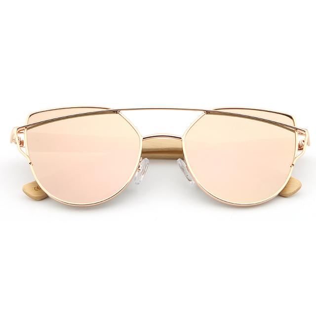 Bamboo Wood Cat Eye Women's Sunglasses