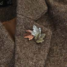 1 PC Maple Daun Bros Logam Vintage Wanita Gadis Charmingexquisite Kerah Lapel Pin Fashion Perhiasan Pesta Aksesoris Pakaian(China)