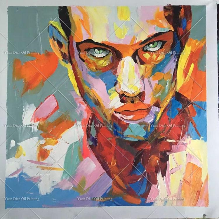 handmade painting modern woman portrait painting man face
