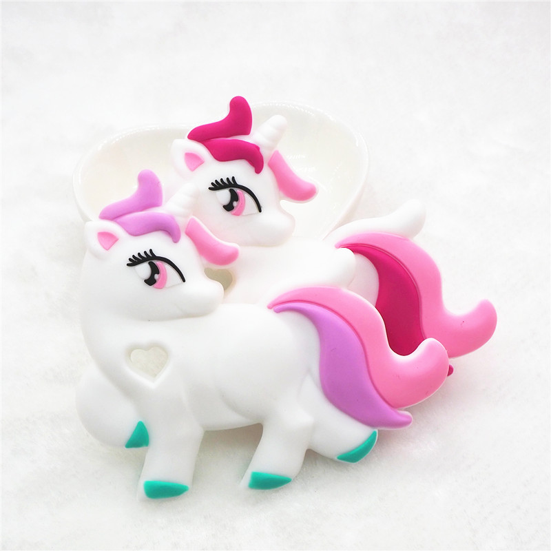 Chenkai 10PCS BPA Free DIY Baby Shower Pacifier Dummy Teether Sensory Toy Accessories Silicone Unicorn Teether