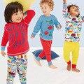 O envio gratuito de roupas pijamas das crianças das crianças dos desenhos animados de malha longo-de mangas compridas treino terno menino