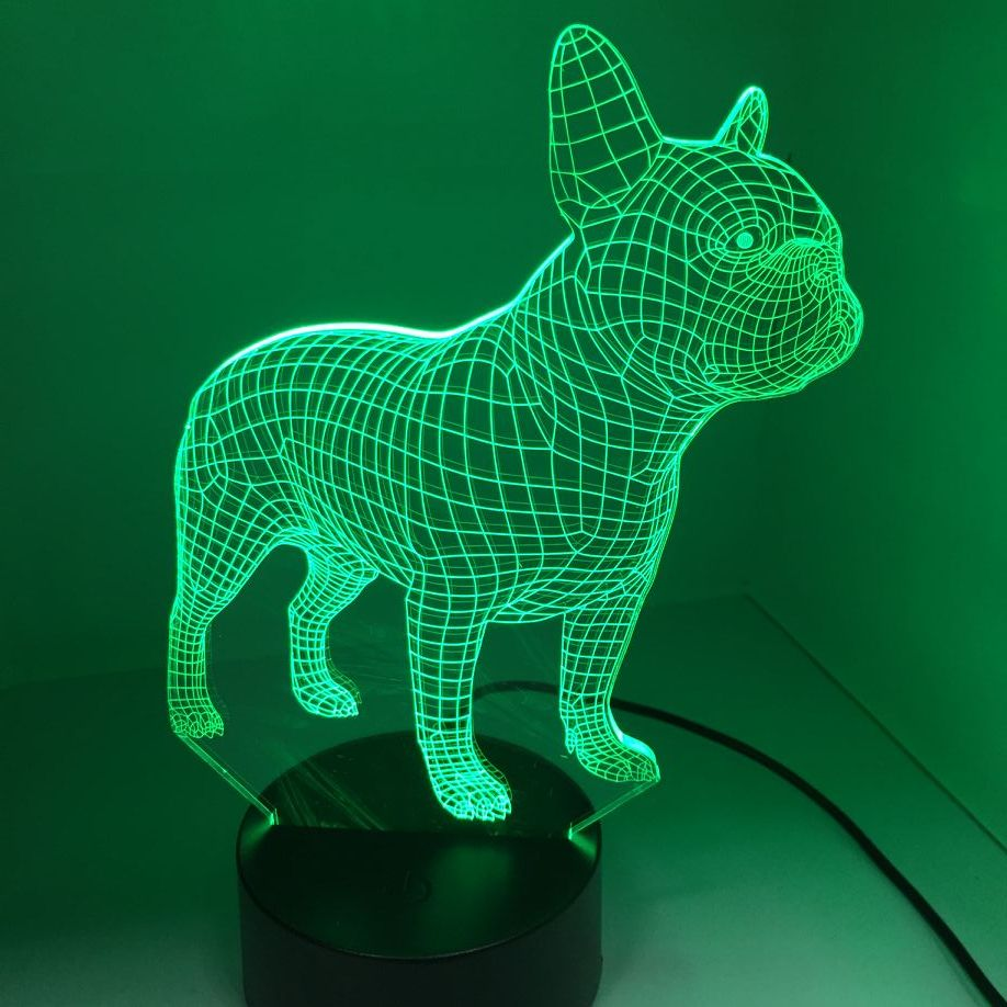 French Bulldog 3D LED Night Lamp 7 Colors USB Hologram Decor Lamp Table Desk Lights Birthday