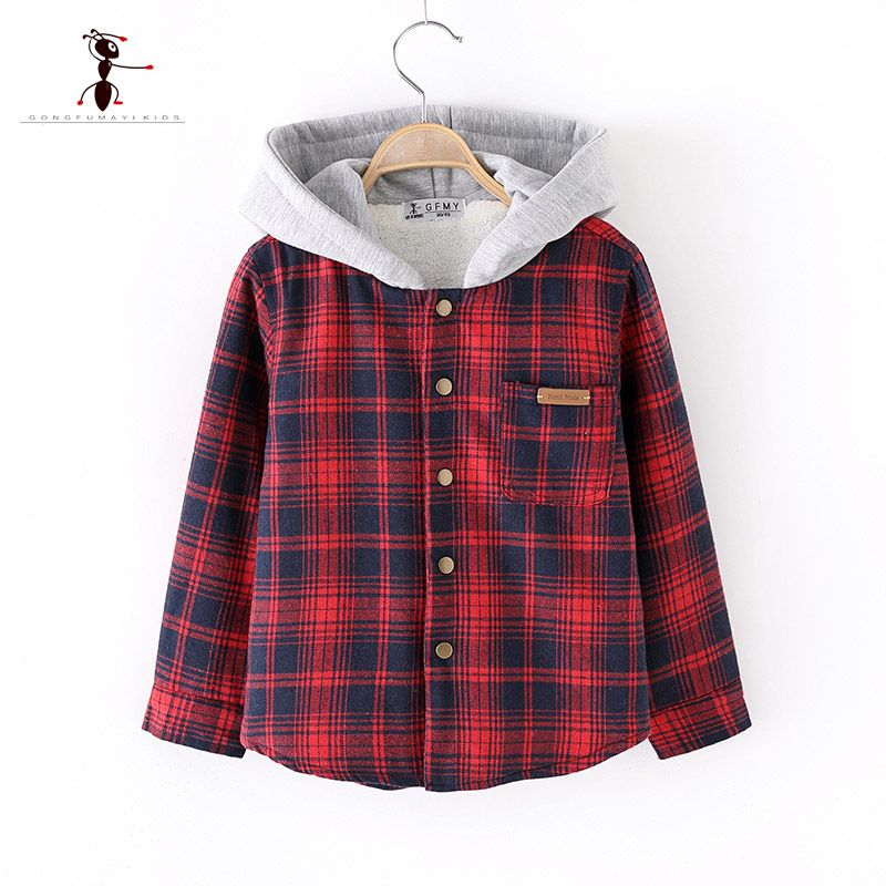 2018 Brand Original Autumn Winter Embroidery letters Plaid Hooded  Warm Plush Boys Shirts High Quality Cotton Warm Baby Shirts2018 Brand Original Autumn Winter Embroidery letters Plaid Hooded  Warm Plush Boys Shirts High Quality Cotton Warm Baby Shirts