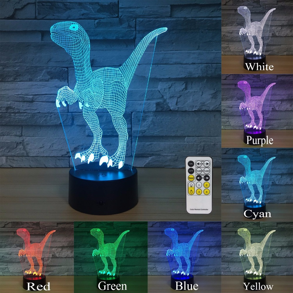 Dinosaur Night Lights for Kids Decorations 7 Colors Change with Remote Baby Night Light Beside Lamp Boys Birthday Party Gift