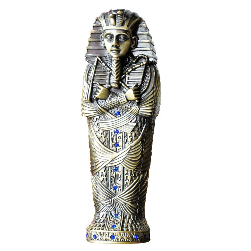 Long Type 17.5cm Egypt Pharaoh Jewelry Box Pencil Case Metal Craft Decorative Figurines Egyptian Pharaoh Statu Christmas Gifts a suit of stylish egyptian pharaoh necklace and earrings for women