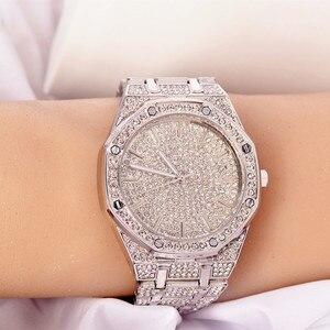 Image 2 - 2019 relógio masculino feminino pulseira de cristal ouro/prata chapeado grande dial senhores senhoras brilhando vestido quartzo relógio de pulso horas