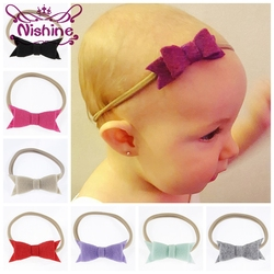 Nishine 17 Colors Newborn Felt Bow Elastic Nylon Headband Hair Bow Khaki Hairbands Kids Birthday Gift Photo Props