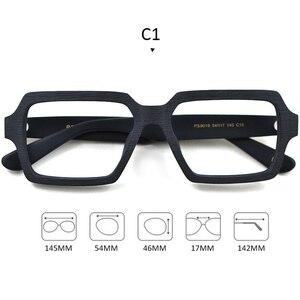 Image 2 - Gafas cuadradas de madera para hombre y mujer, lentes transparentes de marca de lentes, diseño hecho a mano, Estilo Vintage, acetato, S307