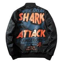 겨울 폭격기 파일럿 재킷 남자 Streetwear 애니메이션 상어 인쇄 야구 재킷 여자 힙합 커플 코트 패션 Hipster 가을
