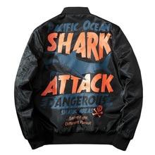חורף מפציץ טייס מעיל גברים Streetwear אנימה כריש הדפסת בייסבול מעיל נשים היפ הופ זוג מעיל אופנה הברנש סתיו