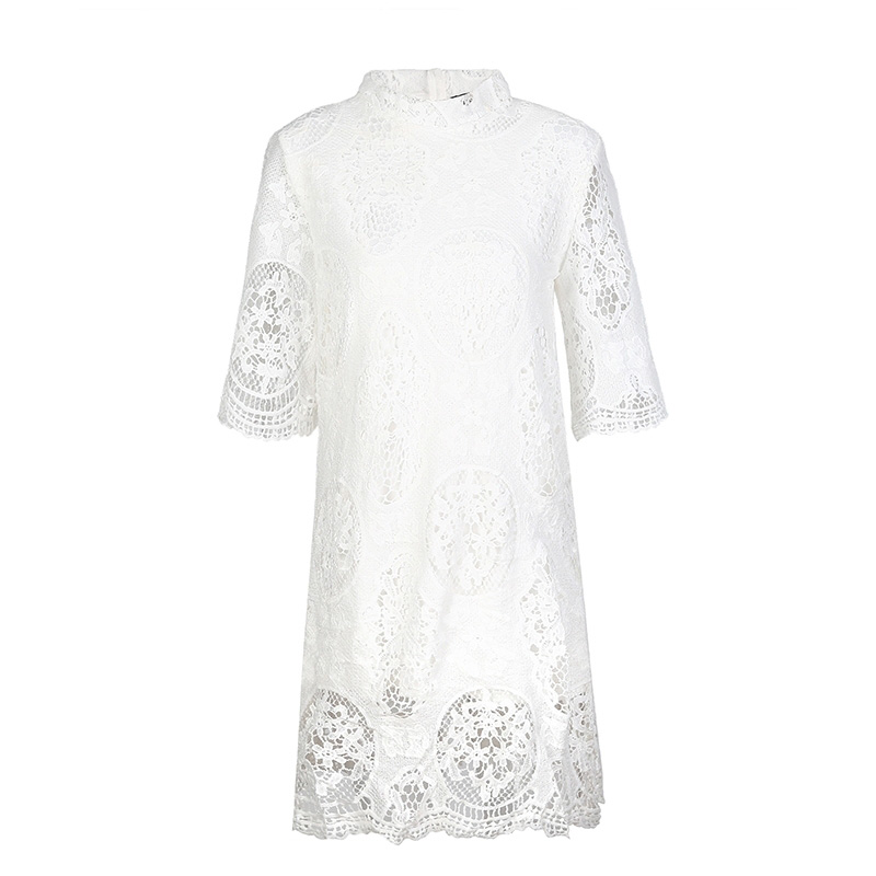 HDY Summer Dress Half Sleeve Ladies Summer Dresses Casual Lace Dress Mini Hollow Out White Lace Dresses for Women 2018 12