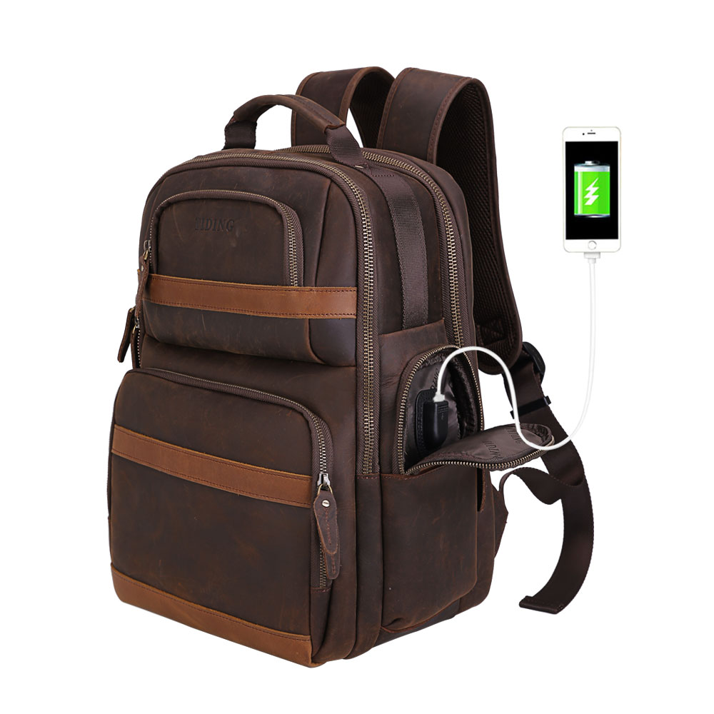 TIDING Mens Real Leather 15.6 Laptop Bag Carry on Multi-functional Backpack Crossbody Shoulder Bag with USB charging portTIDING Mens Real Leather 15.6 Laptop Bag Carry on Multi-functional Backpack Crossbody Shoulder Bag with USB charging port