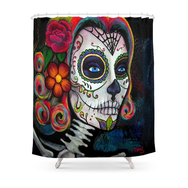 Sugar Skull Candy Shower Curtain Bath Products Bathroom Decor With 12 Hooks Waterproof