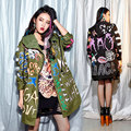 Spring Autumn Trench Coat Melinda style Flame Letter Print Graffiti Trench Coat With Hooded Cotton Trench Woman Casaco 1508