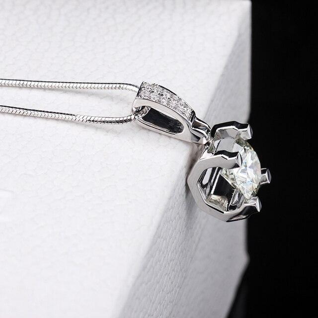 Fashion Slide Wedding Pendant 18K White Gold 1 Carat Round Shape Moissanite Diamond Necklace Gifts for Women 5