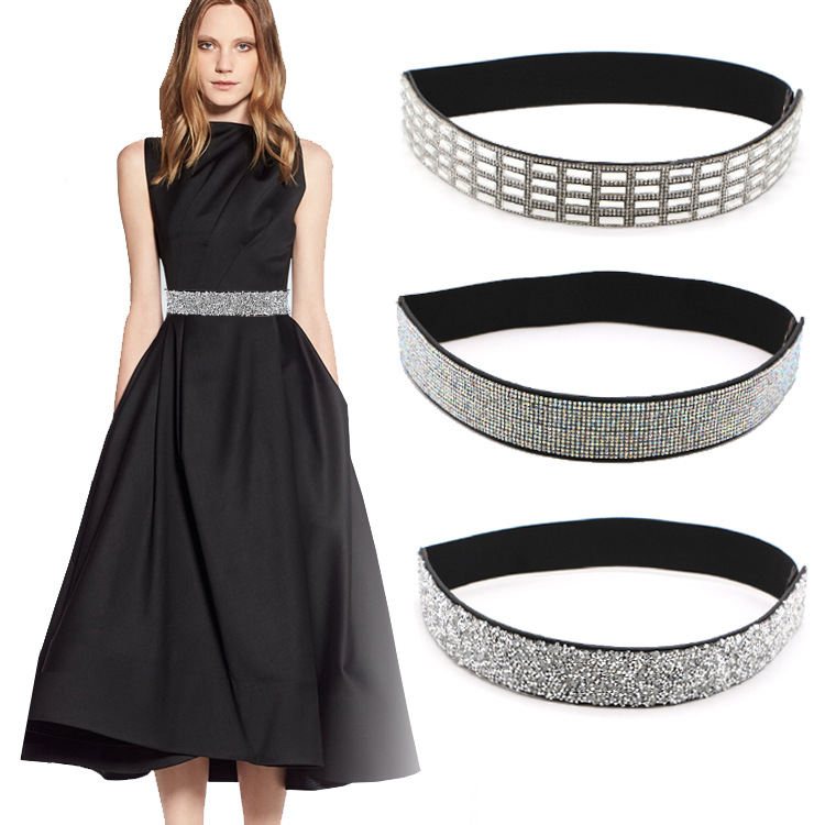 Woman Waist Belt Fashion Bling Handmade Rhinestone Inlaid Elastic Shiny For Female Dresses Coat Shirt Wide Belt Waistband Sashes