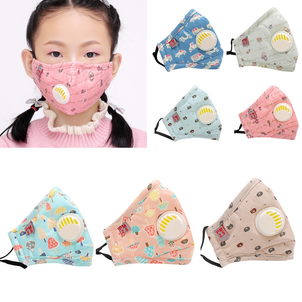 DUAI Child Kids Cotton Anti-Dust Mouth Masks Cute Colorful Cartoon Printed PM2.5 5 Layer Filter Respirator With Breath Valve