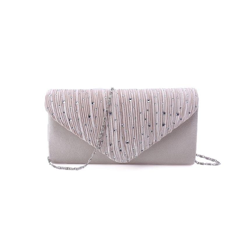 Rhinestone Satin Frosted Evening Clutch Bag Handbag Purse Crossbody for Women Ladies Wedding Party Festival Decor Supplies